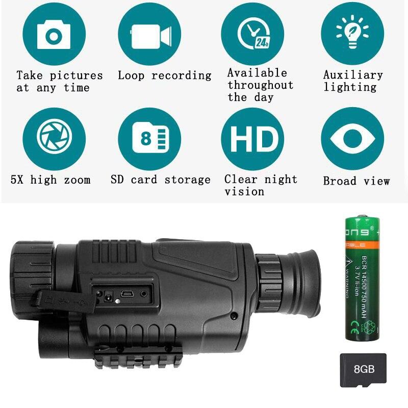 5X40 Monocular visión nocturna infrarroja cámara de visión nocturna militar Digital Monocular telescopio noche caza dispositivo de navegación - 2