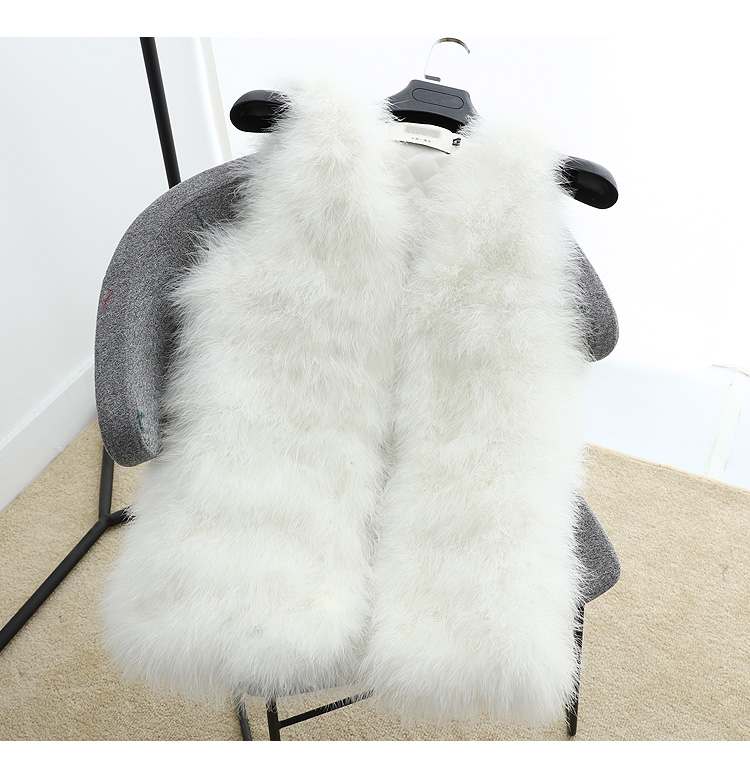 Длинный жилет из натурального меха ручной вязки из натурального страусиного пера, меховой жилет высокого качества из натурального пушистого меха, жилет темно-серого цвета - Цвет: 1 White