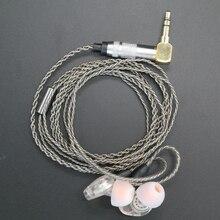 アップグレード DIY MMCX イヤホンステレオ低音ハイファイイヤホンヘッドホンインナーイヤー Ouyad プラグシルバーメッキライン shure の SE215 SE425 SE535 SE846