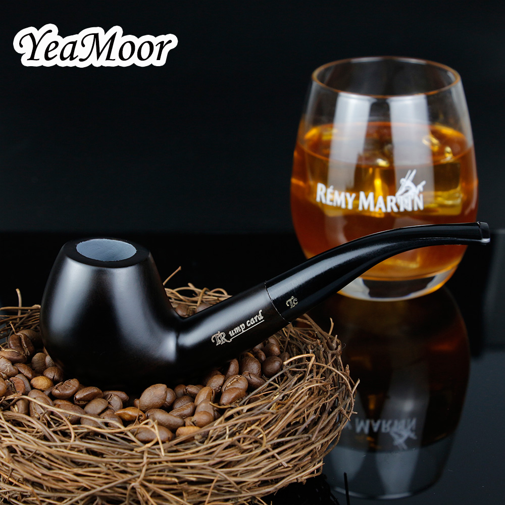 New Pure Black Smoking Tobacco Pipe 9mm Filter Ebony Wood Pipe Traditional Bent Smoking Pipe Smoke