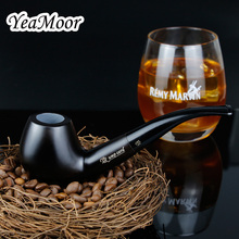 Новый чистый черный табакокурения труба 9 мм фильтр трубка из черного дерева традиционные изогнутая курительная трубка принадлежности для курения 10 инструментов Бесплатная