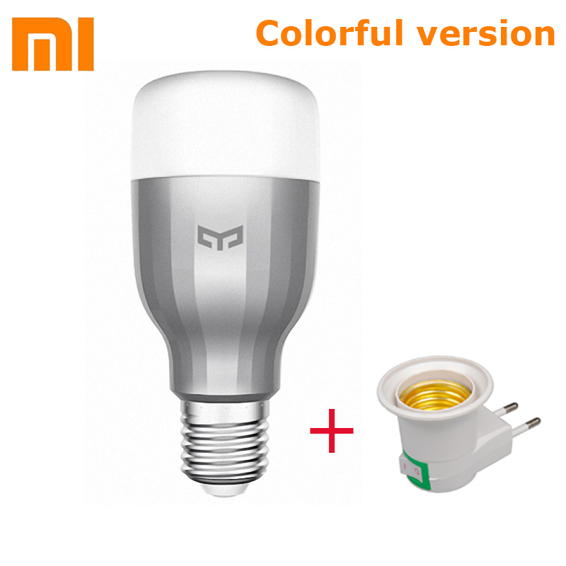 Original Xiaomi Yeelight LED Smart Bulb (Colorful) E27 9W 600 Lumens Mijia Light Xiaomi Smart Phone WiFi Remote Control in stock original xiaomi yeelight smart ceiling light lamp remote app wifi bluetooth control smart led colorfull ip60 dustproof