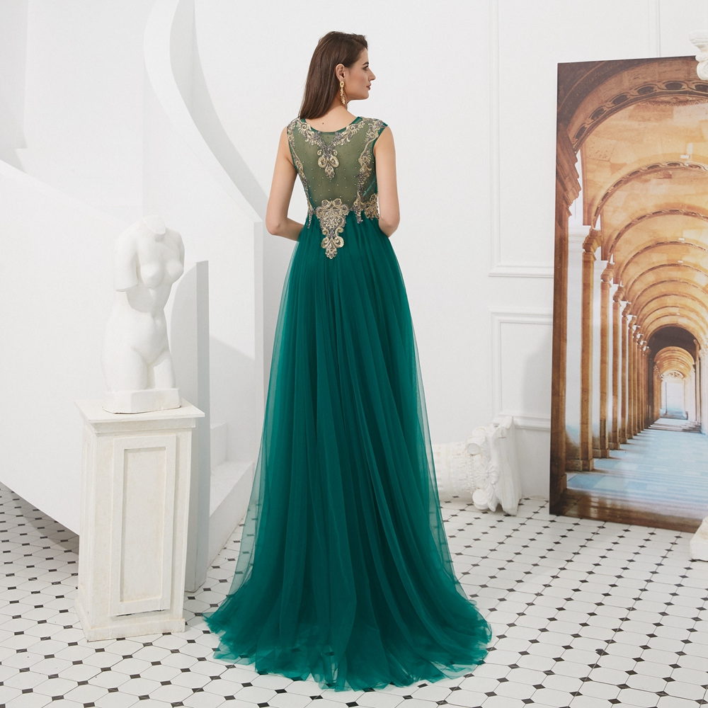 Evening Dresses Abendkleider 2019 Prom Gowns for Women Long Hunter Green with Cape Tulle Illusion Gold Lace Appliques Beading