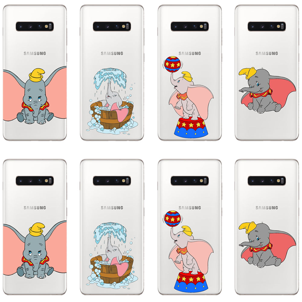 Cartoon dumbo elephant soft silicone TPU phone cover case for samsung Galaxy <font><b>A72018</b></font> A5 A6 A8 J5 J6 J7 J8 Note8 Note9 2017 2018 image