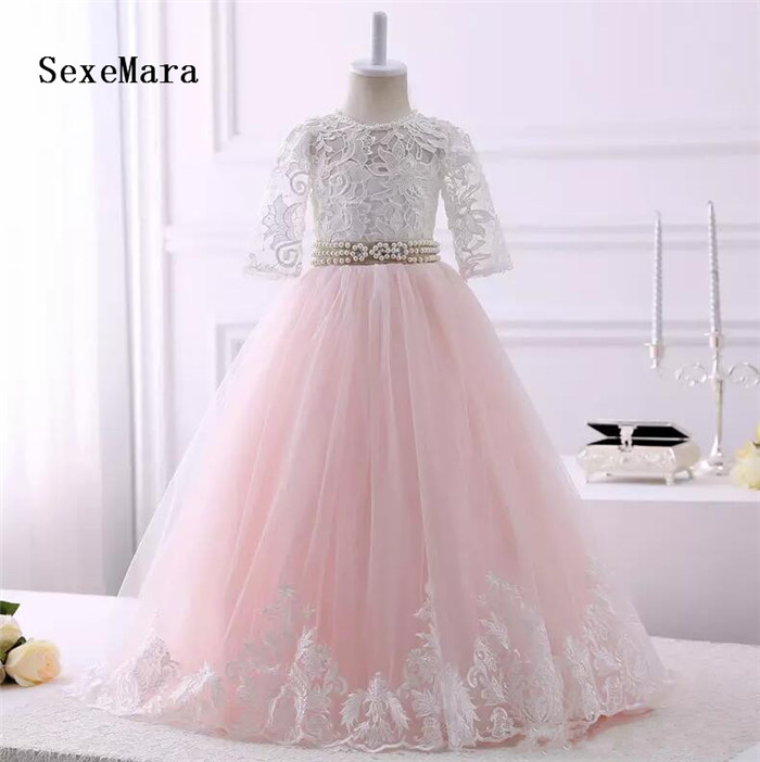 Real Picture Blush Pink Ivory Lace Flower Girls Dress Long Pearls Ribbon Keyhole Back Lace up Tulle First Communion Dress