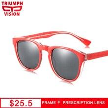 TRIUMPH VISION Red Frame Myopia Sunglasses Eyewear UV400 Black Lens Prescription Glasses Women Photochromic Driving Eyeglasses