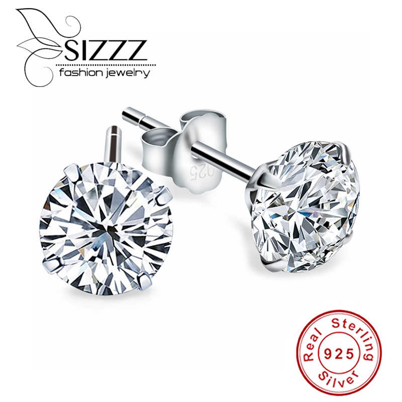 Crystal Zircon Real 925 Sterling Silver Earrings Channel  Cubic Zirconia Silver Stud Earrings for Women Sterling Silver Jewelry