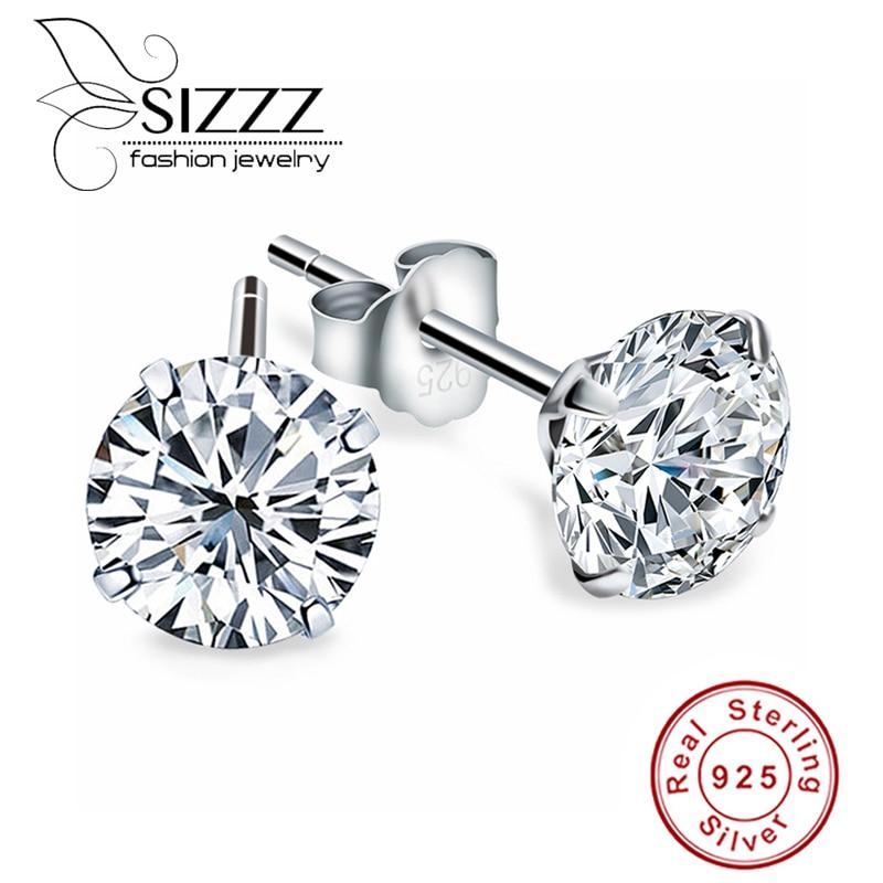 Crystal Zircon Real 925 Sterling Silver Earrings Channel Cubic Zirconia Silver Stud Earrings for Women Sterling Silver Jewelry(China)