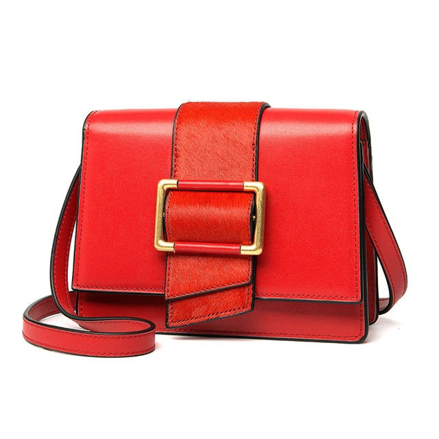 Leather women's bag small square one shoulder