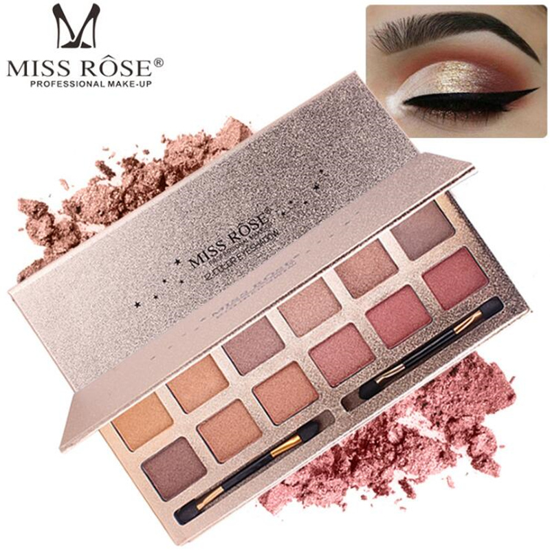 Miss Rose 12Colors Eyeshadow Palette Professional Matte EyeShadow Naked Palette Glitter Eye Shadow MakeUp Nude Makeup Cosmetics