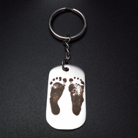 Custom Personal ID Tag Stainless Steel Key Chains Engrave Your Photos Letters Anti Wandered Off Emergency