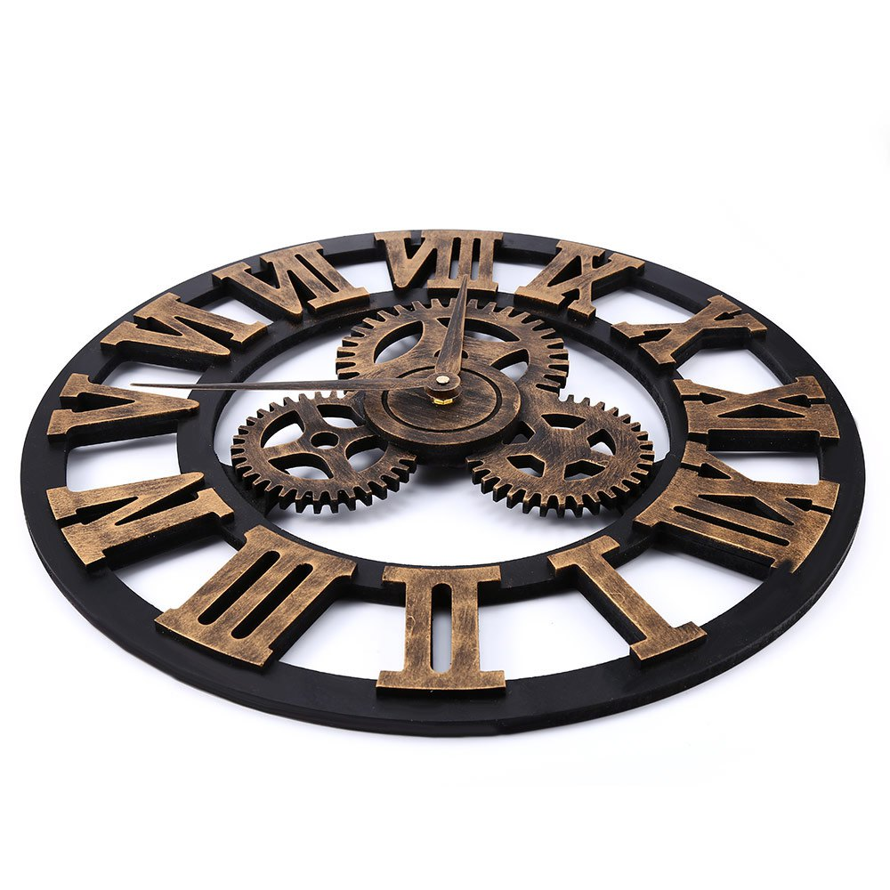 US $45 9 |17 7 Inch Vintage 3D Large Retro Decorative Wall Clock Gear  Design Roman Number Hollow out Home Decoration-in Wall Clocks from Home &  Garden