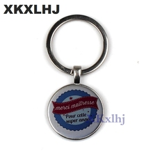 XKXLHJ Hot merci maitresse glass cabochon mens car keychain ring rings classic school jewelry keyring Pendant