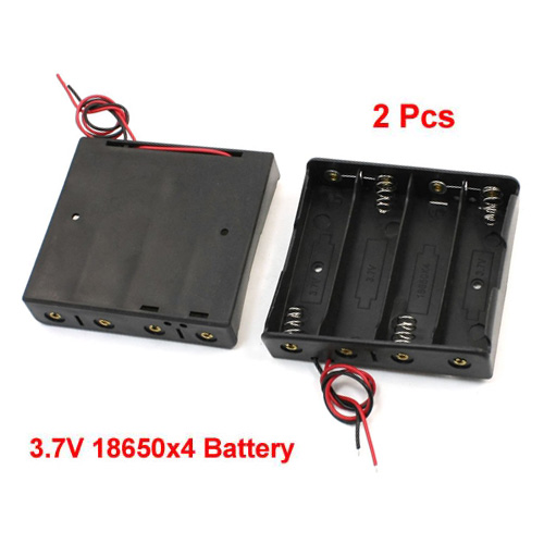 2pcs Plastic Storage Case 4x18650 3.7V Battery Holder w Wire Leads spark storage bag portable carrying case storage box for spark drone accessories can put remote control battery and other parts