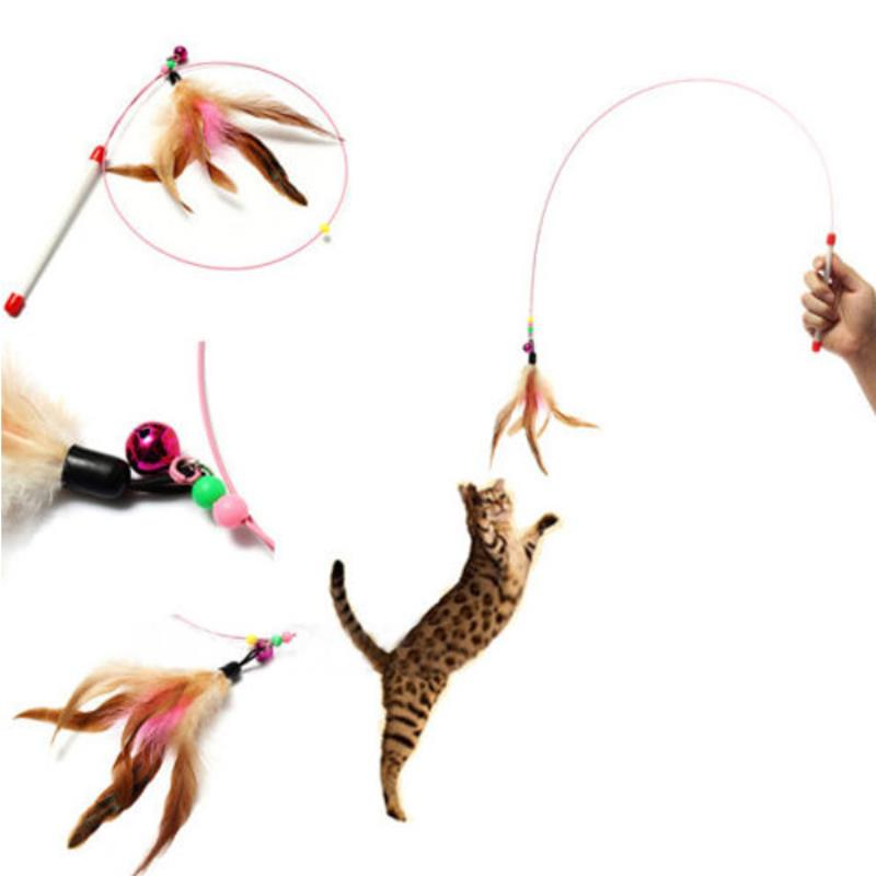Neweat Funny Cat Toy Feather Teaser Cat Rod With Bell Beads Pet Kitten Funny Feather Toys 88cm Long Rod Random Color
