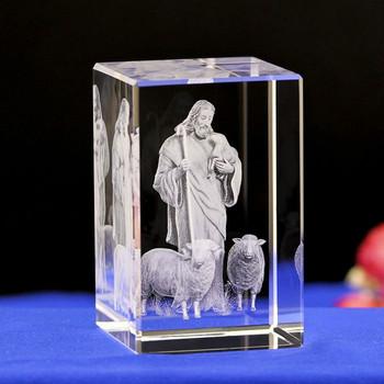 Grawer laserowy Jesus Shepherd chrześcijański katolik posągi fabryka dostosowane grawerowanie kryształowe kreatywne dekoracje na prezent tanie i dobre opinie Szkło Jezus