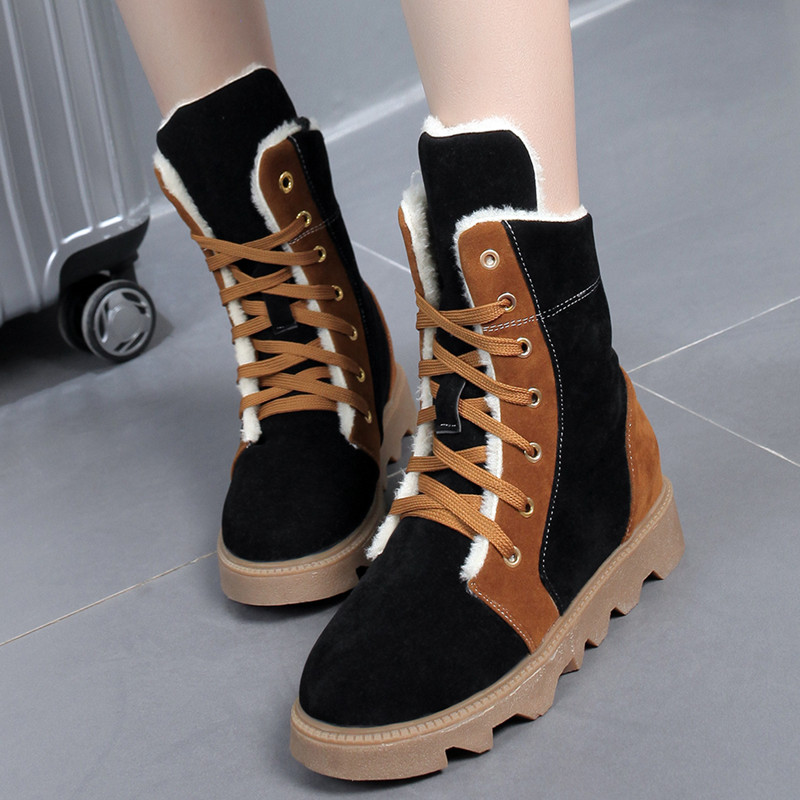 2017 Women Winter Boots Female Lace Up Flock Ankle Snow Boots Ladies Platform Fur Plush Zapatos Mujer 2016 rhinestone sheepskin women snow boots with fur flat platform ankle winter boots ladies australia boots bottine femme botas