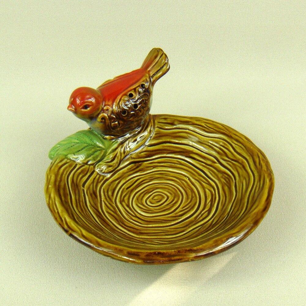 Ceramic Bird Figurine Candy Plate Decorative Porcelain Owl Miniature ...