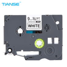 TIANSE Label Maker 1pcs 9mm TZ Tape TZe221 TZ221 TZe 221 For Brother P-touch Black on White High Quality 3/8 W x 26.2L
