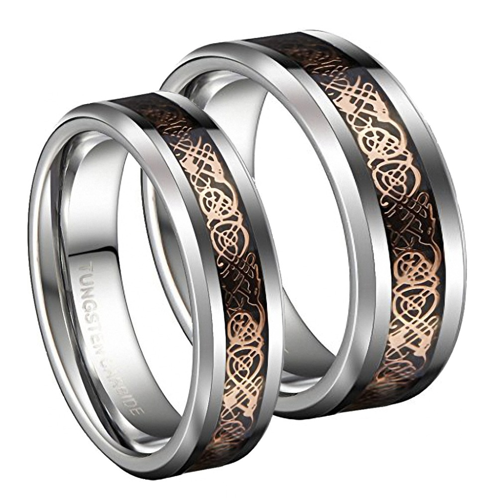 It is just a photo of US $42.42 42% OFF42mm Tungsten Carbide Wedding Bands Ring Rose Gold Celtic Dragon Men Women Silver Jewelrysilver jewelrywedding bandwedding band