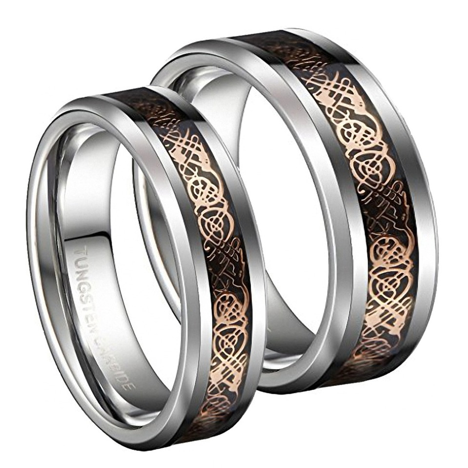 This is a photo of US $41.41 41% OFF41mm Tungsten Carbide Wedding Bands Ring Rose Gold Celtic Dragon Men Women Silver Jewelrysilver jewelrywedding bandwedding band