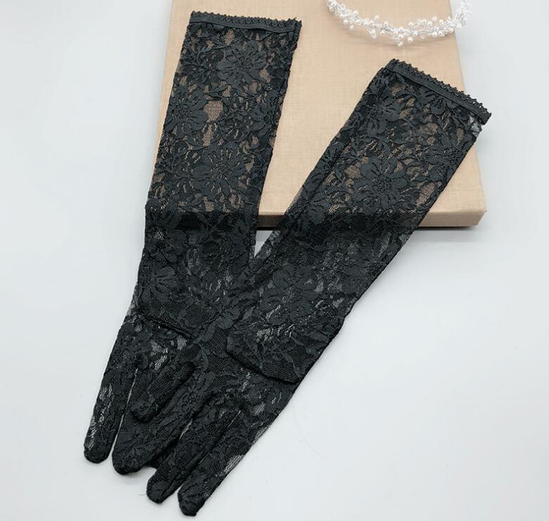 Women's Spring Summer Sexy Black Color Long Lace Gloves Female Uv Protection Breathable Sunscreen Driving Glove R1487