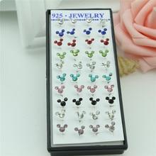 40 шт./милый цветной набор сережек-гвоздики с кристаллами Микки Мауса, женские 925 пробы серебряные серьги, ювелирные изделия, подарки для женщин и девушек