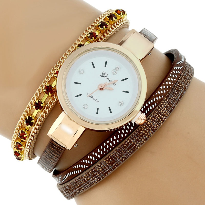 ᗕGnova Platinum moda étnica cristal pulsera Relojes Mujer