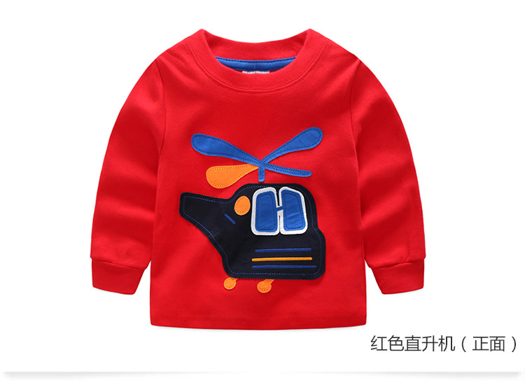 2018 Spring Autumn For 2-9 10 Years Children Cotton Striped Patchwork Cartoon Car Bus Truck Baby Kids Boys Long Sleeve T Shirts (41)