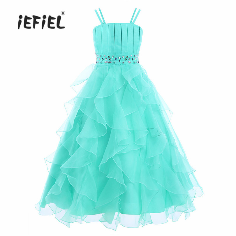 IEFiEL Formal Maxi Dress 4-14Y Kids Flower Lace Dress Party Wedding Bridesmaid Floral Ball Gown Prom Dress