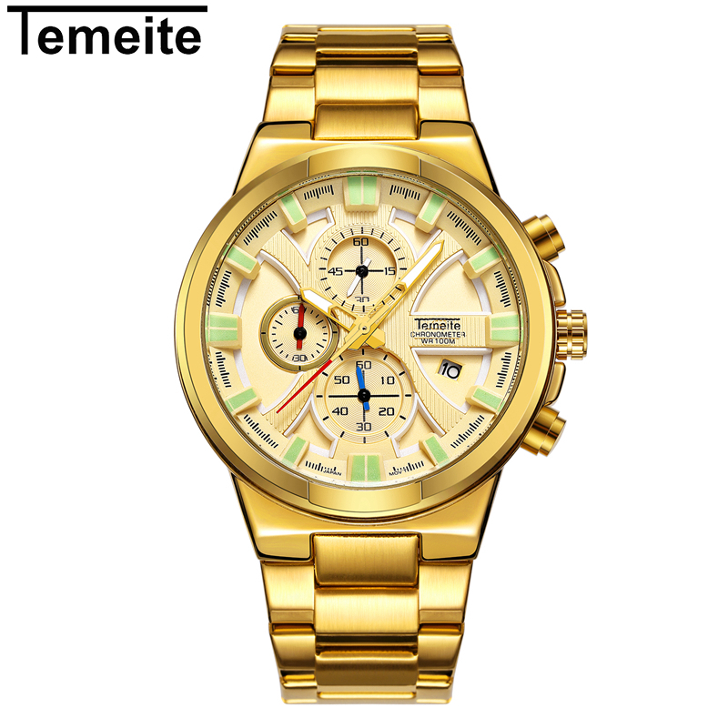 TEMEITE Luxury Business Quartz Watch Men Brand Stainless Steel Chronograph Army Military Wrist Watch Clock Relogio Masculino цена