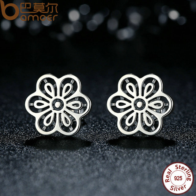 Sterling Silver Floral Daisy Lace Flower Stud Earrings