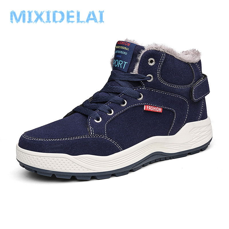 MIXIDELAI 2018 Fashion Men Winter Snow Boots Keep Warm Boots Plush Ankle Boot Snow Work Shoes Casual Men's Snow Boots Size 39-48
