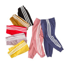 Baby Girls Sports Pants 2019 Spring Autumn New Boys Cotton Leggings Kids Side Stripes Solid Color Pant For 3-12Y