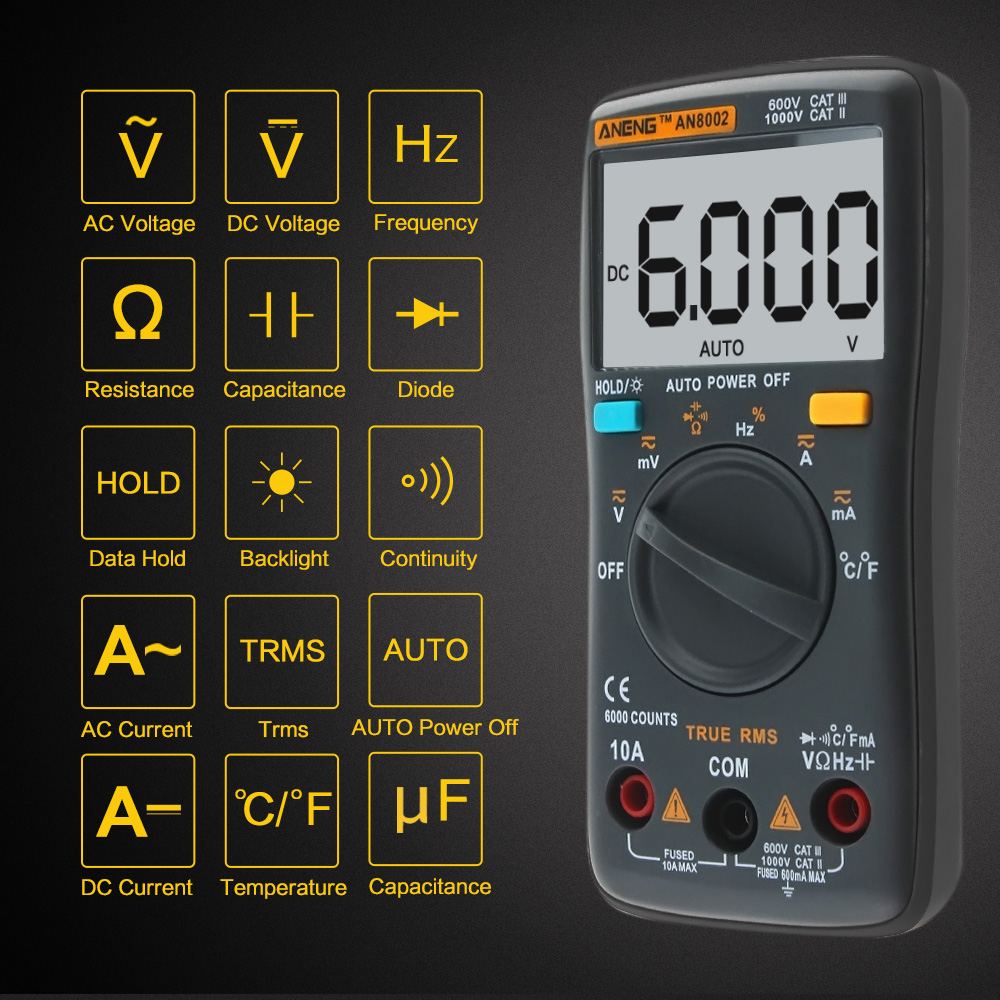 AN8002 6000 counts Digital Multimeter Backlight AC/DC Ammeter Voltmeter Ohm Portable Meter Capacitor Tester Ammeter Multimetro купить недорого в Москве