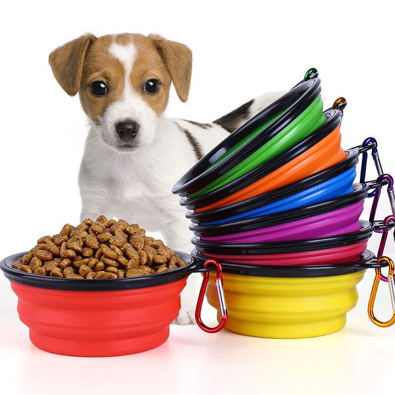 Silicone Collapsible Dog Feeding Bowl Pet Food Container Dog Water Dish Cat Portable Feeder Puppy Pet Travel Bowls - 9 Colors