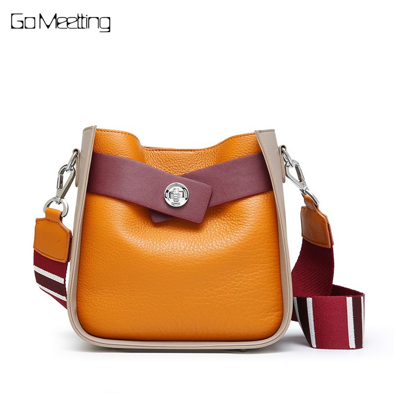 Go Meetting Panelled Small Ladies Shoulder Messenger Bags Genuine Leather