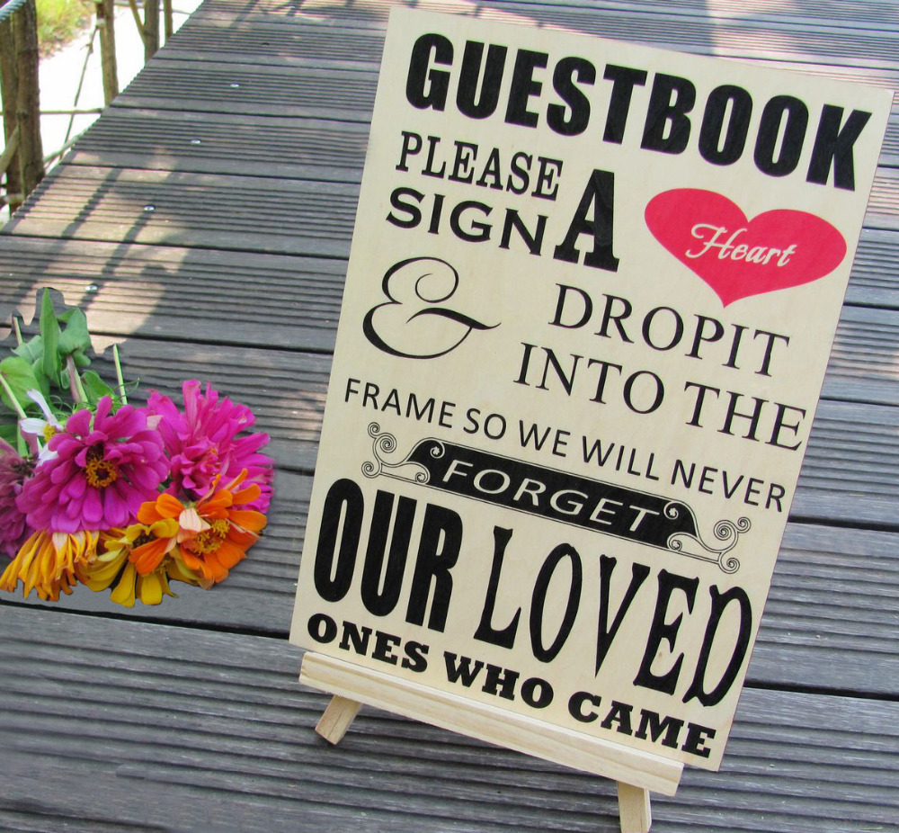 Please Sign A Heart Sign for Wooden Wedding Heart Drop Box Guest Book Frames