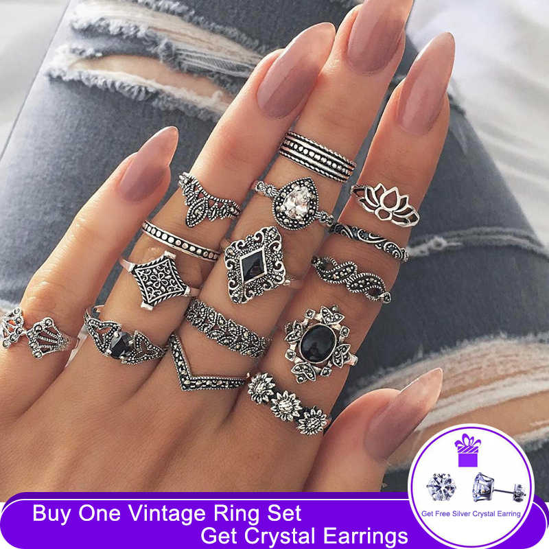 VOVA 15 stks/set Bohemian Retro Crystal Bloem Bladeren Holle Lotus Gem Zilveren Ring Set Vrouwen Wedding Anniversary Gift