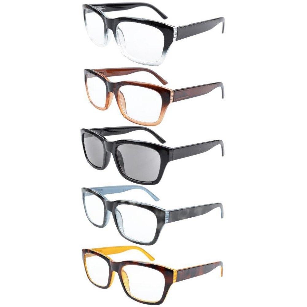 R045 Eyekepper 5-pack Spring Hinges Large Square Frame Reading Glasses Include Sun Readers +0.50---+4.00