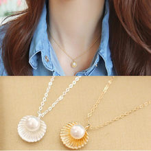 Korean Fashion Jewelry Bohemian Necklace Simple Temperament Pearl Shell Shape Pendant Necklace Women's Elegant Necklace(China)