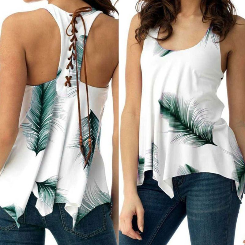 Womens Summer Plus Size   Tank     Tops   Vintage Feather Print Racerback Lace Up Bandage Vest Pleated Irregular Hem Tunic T-Shirt S-5XL