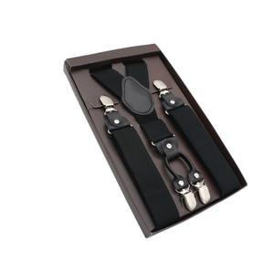 Elegant Suspender Men Real Leather Alloy 4 Clips Belt Elastic Trouser Straps Fashion Commercial Pants Braces 3.5cm Width