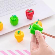 купить Creative Vegetables Pumpkin Chili Pencil Sharpener Cute Knife Kawaii Student Stationery Sharpener for Kids School Supplies дешево