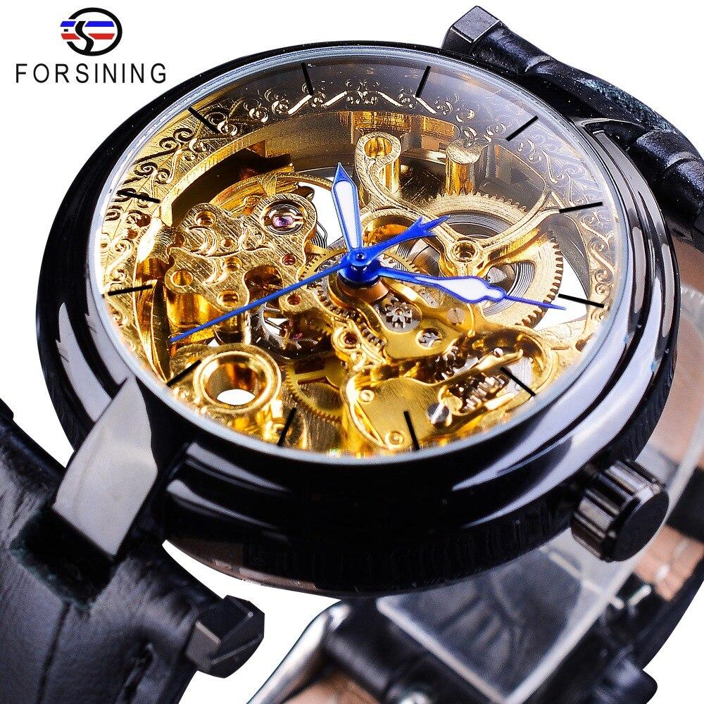 Forsining Retro Black Golden Skeleton Watches Blue Luminous Hands Genuine Leather Men's Mechanical Clock Transparent Wristwatch skeleton hands style zinc alloy earrings golden pair