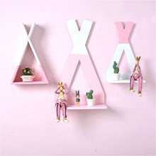 Nordic Wooden Triangle Shelf Kids Baby Wall Decorate Hanging Sheves Ornament Books Toy Flower Storage Rack Home Organizer