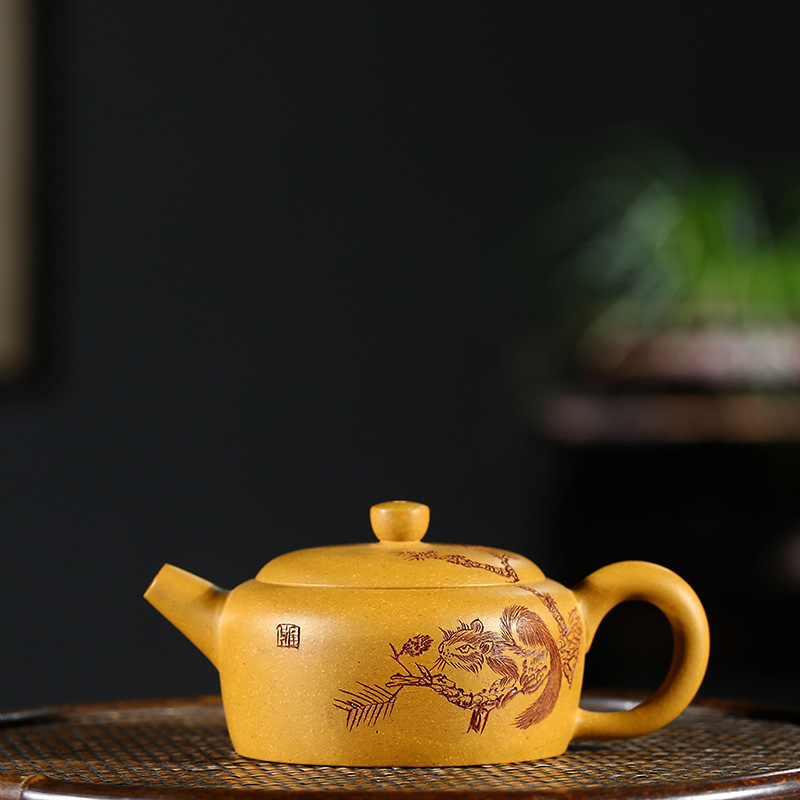 Teapot Full Manual Raw Ore Gold Section Mud Pot Infusion Of Tea Preserve Ones Health Kettle Kungfu Online Teapot Tea SetTeapot Full Manual Raw Ore Gold Section Mud Pot Infusion Of Tea Preserve Ones Health Kettle Kungfu Online Teapot Tea Set