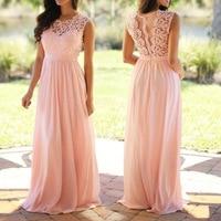 U SWEAR 2019 Sexy Lace Backless Bridesmaid Dresses O Neck Sleeveless Long Chiffon Wedding Party Formal Gowns Vestidos De Festa