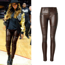 European and American Style Women Automotive Leather Pants Fashion Womens Skinny Leggings Pants Women Brand Clothes Design S2811