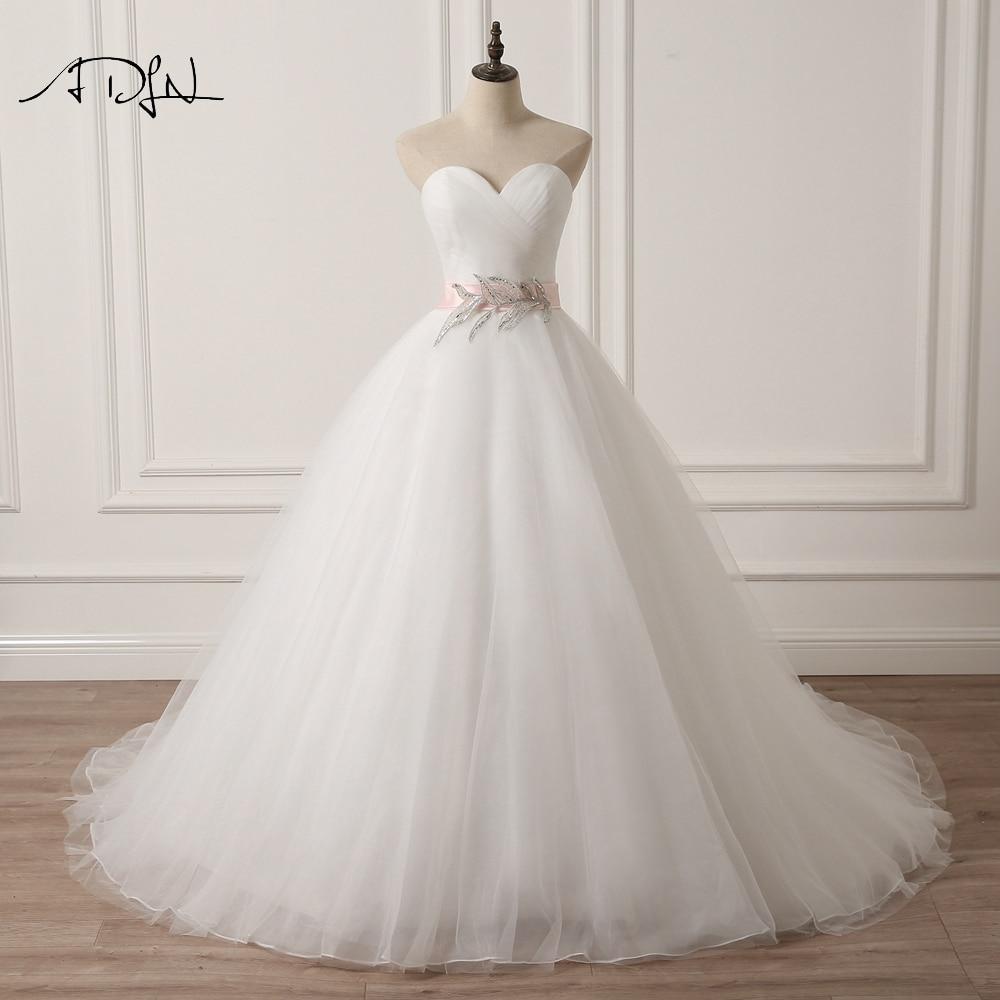 ADLN cariño vestido de novia sin mangas con lazo rosa Una línea de - Vestidos de novia